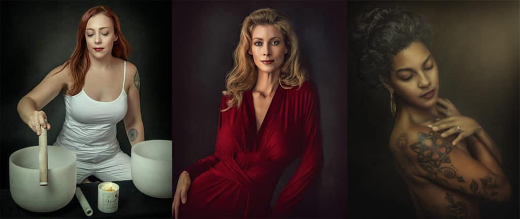 different style portraits, branding picture of a female using singing bowls, modern portrait of female in red dress, fine art boudoir portrait